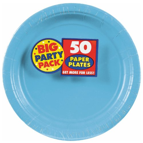 Amscan AMI 650013.54 Amscan Caribbean Blue Big Party Pack Dinner Plates (50 Count), 1, blue - 1