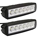 Led Light Bar, Senlips 2x 18W Flood Light Led Lights Fog Light Offroad Light Bar IP 67 Waterproof for Off-road Vehicle, ATV, SUV, UTV, 4WD, Jeep, Boat- Black