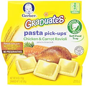 Gerber Graduates Pasta Pick-Ups Ravioli, Chicken and Carrot, 8 Count, 6 Oz