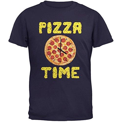 pizza-reloj-de-tiempo-azul-marino-adulto-camiseta