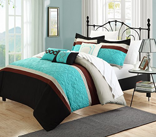 Inspirational Carla Piece Embroidered Comforter Set Queen size Aqua Sheet Set included
