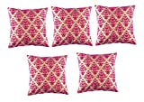 HOMEC Trendy Flock Printed Cushion Cover Set of 5 in - 16 X 16""
