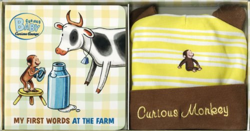 Curious Baby My First Words At The Farm Gift Set (Curious George Book & Hat) (Curious Baby Curious George) front-840500
