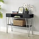 Altra Furniture Rade Console Table, Black and Silver