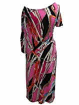 Pink Multi Chain Print Asymmetrical Off the Shoulder Boatneck Dress (Large)