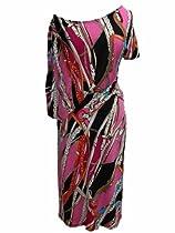 Pink Multi Chain Print Asymmetrical Off the Shoulder Boatneck Dress (Large)