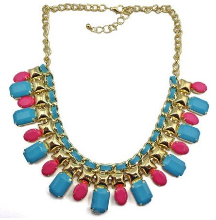 blue Chunky Bread Bubble Statement Bib Necklace Resin Stone Golden Jewelry(wp-44)