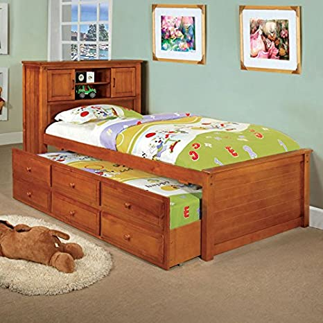 Newbury Classic Style Oak Finish Twin Size Captain Bed Frame Set