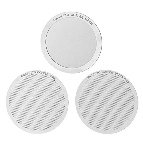 3 Pro AeroPress Stainless Steel Filters by Corretto Coffee - FINE, ULTRA-FINE & MESH + Brewing Guide - Reusable, Permanent, Paperless, Premium Metal Filter Set for AeroPress (Super Fine Coffee Filter compare prices)
