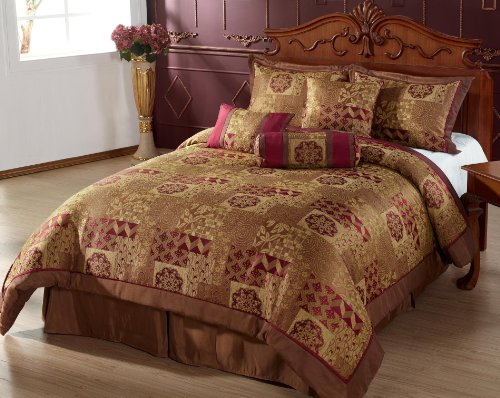 7pc Comforter Set Brown Gold Burgundy Bed In A Bag