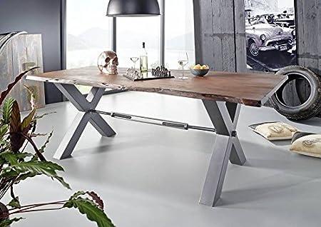 Table à manger 240x100cm - Fer et Bois massif d'acacia laqué - BLACK LABEL #108