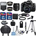 Canon EOS Rebel T6i 24.2 MP DSLR Digital Camera with USA Warranty & Canon EF-S 18-55mm f/3.5-5.6 IS STM) Lens + HD 58mm wide angle & Telephoto Lens + 32GB SDHC Memory Card Class 10 + Deluxe Bundle