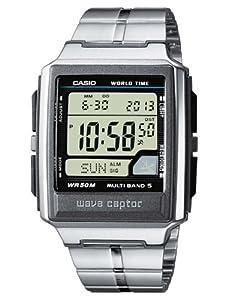 CASIO DE-1AVEF - Reloj de mujer de cuarzo, correa de acero inoxidable color negro (con radio, cronómetro, alarma, luz)