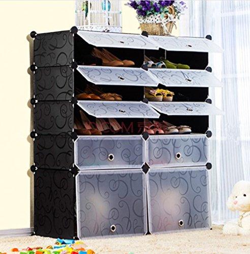 multi use diy plastic 10 cube shoe rack organizer bookcase shoes boot cabinet ebay. Black Bedroom Furniture Sets. Home Design Ideas