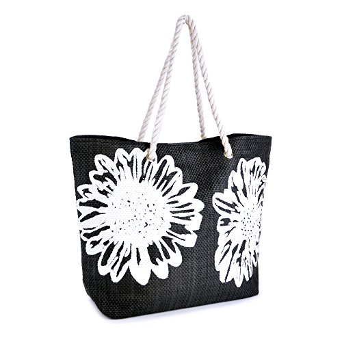 summer-bags-ladies-flower-print-canvas-rope-handle-shoulder-bag-black