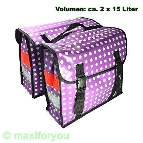 LTJ Fahrrad Gepäckträgertasche Seitentasche o. Doppeltasche 4 Farben Punkte 01170425 (Doppeltasche Violett)