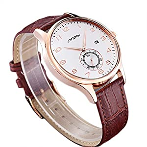 Elegant Leisure SINOBI Man's Wrist Watch Calender Leather Band Brown White