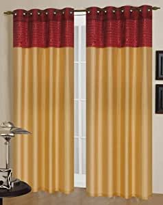 Sundance Gold And Burgundy Two Grommet Top Curtain Panels 80 Inches Wide X 84