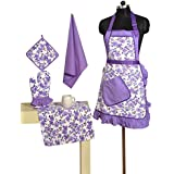 Patterned Belted Cotton Chef's Apron Set With Pot Holder, Oven Mitts & Napkins - Perfect Home Kitchen Gift Or...