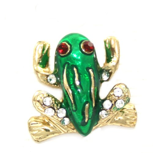 Adorable Small Green Frog Button Pin with Crystals Gold Tone