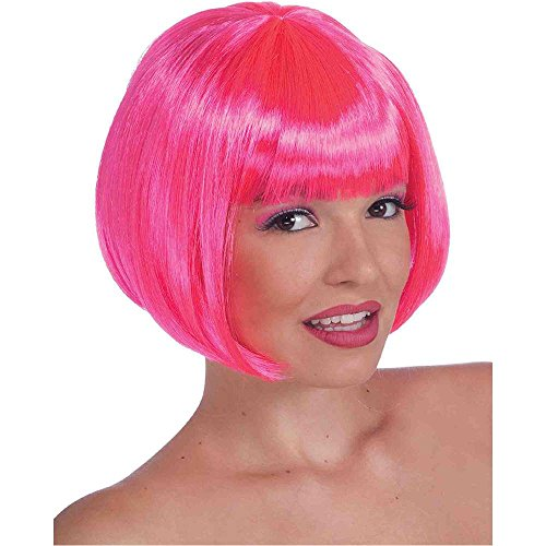 Sassy Bob Neon Pink Wig - One Size