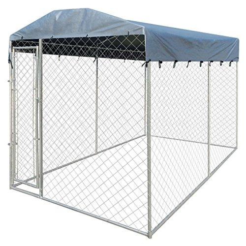 Anself-Hundezwinger-Hundehtte-Hundehaus-aus-Stahl-mit-Verdeck-200-x-400-x-235-cm