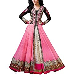 Aaradhya Women'S Net Anarkali Unstitched Dress Material - AA_ART_003_ANA_PINK_Pink