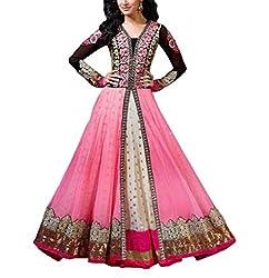 Aaradhya Women'S Net Anarkali Unstitched Dress Material - AA_ART_003_ANA_PINK_Pink