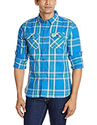 Superdry Men's Cotton Casual Shirt (5054265357930_M40ME018F2_Large_Reef Blue Check)