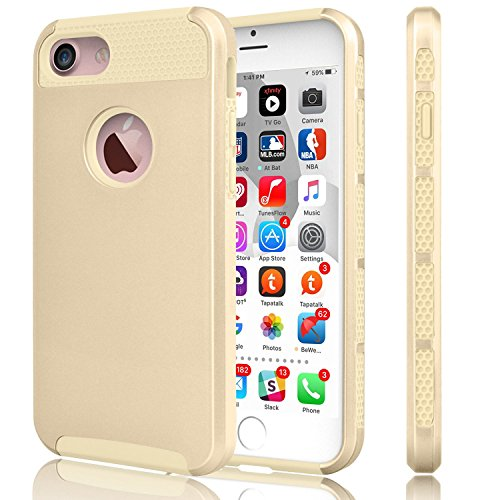 iPhone 7 Case, VPR [Shock Absorption] [Drop Protection] Armor Hybrid Dual Layer Defender Protective Rugged Slim Hard Case Cover Plastic Shell + TPU Rubber Inner for iPhone 7 (2016) (Gold (Shocking Pink Anime)