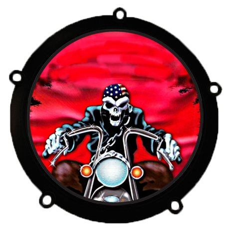 D&L DerbyCappers Red Skull Derby Cover Capper for Harley Davidson Motorcycles - Matte Black Trim Ring - 5 Bolt Pattern