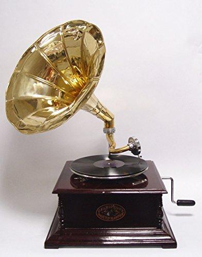 Grammophon Plattenspieler Verstärker quadratischer dunkelbrauner Unterbau