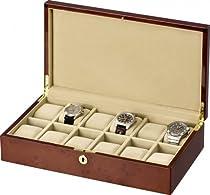 Auer Accessories Leda 312DB Watch Box for 12 Watches Dark Burlwood