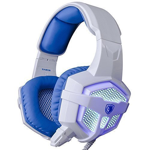 SADES SA-806 Professional Stereo PC Gaming Headset With Microphone & Volumn Controle & LED Light & 3.5mm Noise Cancellation Wired Headphone for Computer Gaming (White+Blue)