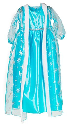 HBB Girl Snow Princess Ice Blue Dress Costume With Long Snowflake Cape, Size 4-12