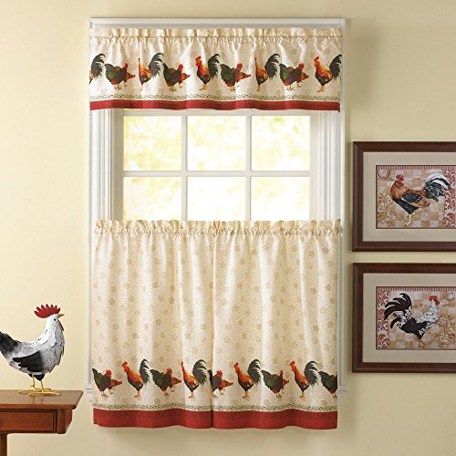 CHF Industries Morning Rooster 36 in. Kitchen Curtain Set (Kitchen Curtains With Roosters compare prices)