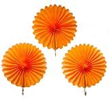 My Party Suppliers Tissue Paper Fan Decoration Orange Colors 35cm ( 3 pcs Set ) / Decorative Fans