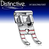 "Distinctive 1-4"" (Quarter Inch) Quilting Sewing Machine Presser Foot - Fits All Low Shank Snap-On Singer*, Brother, Babylock, Euro-Pro, Janome, Kenmore, White, Juki, New Home, Simplicity, Elna and More!"