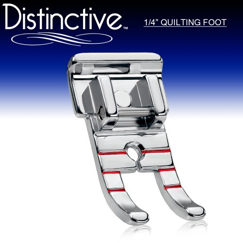 "Distinctive 1-4"" (Quarter Inch) Quilting Sewing Machine Presser Foot - Fits All Low Shank Snap-On Singer*, Brother, Babylock, Husqvarna Viking (Husky Series), Euro-Pro, White, Juki, Bernina (Bernette Series), New Home, Simplicity and Elna and More!"