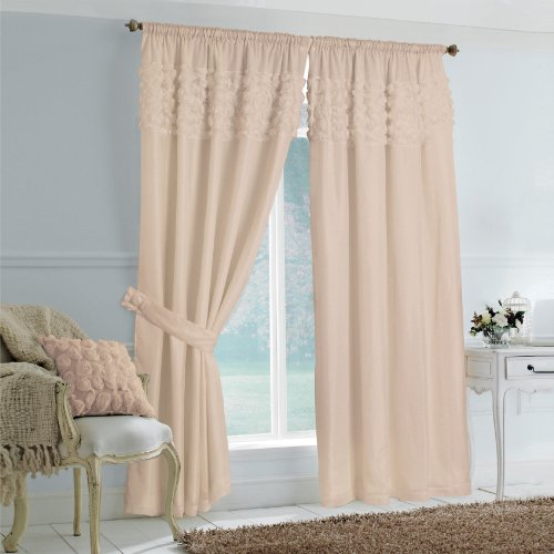 Luxury Rimini Rose Design Fully Lined Pencil Pleat Readymade Voile Curtains, Coffee - 90