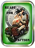 READY FOR ACTION,PIN UP GIRL 2oz GOLD TOBACCO TIN,BACCY TIN,PILL BOX, STASH CAN,STORAGE TIN