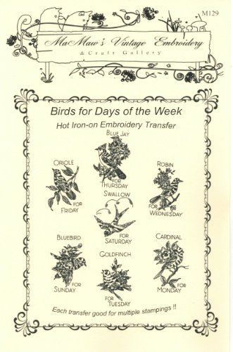 Feather Friends Birds For Tea Towels Hot Iron Embroidery Transfers front-63526