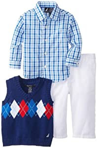 Nautica Baby-Boys Infant 3 Piece Argyle Vest Set from Nautica