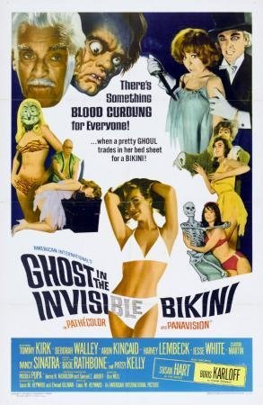 Ghost In The Invisible Bikini Movie Poster Home Theater Decor Metal Tin Sign Wall Art Collection 8 inches x 12 inches