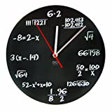 DCI Matte Black Powder Coated Metal Mathematics Blackboard Pop Quiz Clock, 11-1/2