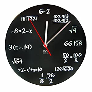"DCI Matte Black Powder Coated Metal Mathematics Blackboard Pop Quiz Clock, 11-1/2"" Diameter"