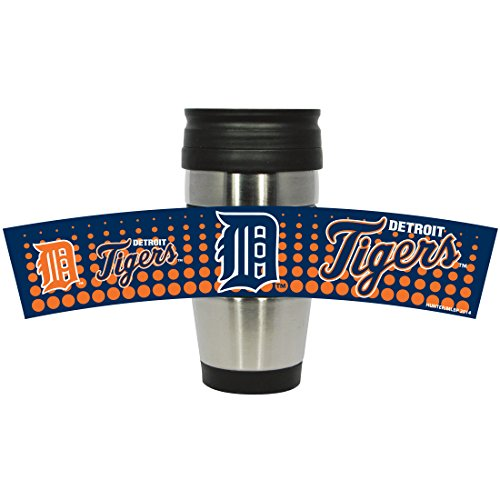 Mlb Detroit Tigers Stainless Steel Travel Tumbler With Pvc Wrap, 15-Ounce, Team Color front-1025253