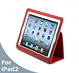 AYL® Genuine Leather Case Folio and 3-in-1 built-in Stand for Apple Ipad 2nd Generation Tablet (Red)