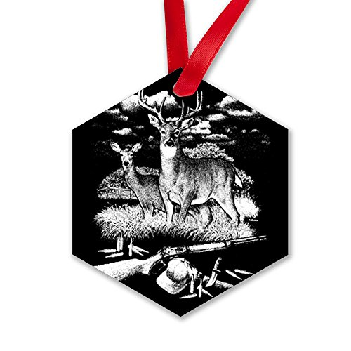 Hexagon Ornament (2-Sided) Deer Hunting Buck Doe Rifle and Hat