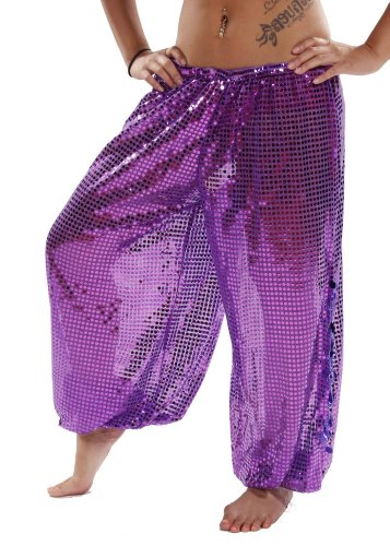 Miss Belly Dance Women's Sequined Harem Pants with Side Slits